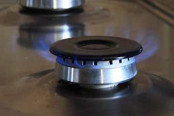 Gas burner on stove top